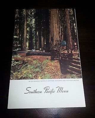 1949 SOUTHERN PACIFIC MENU Redwood Empire of Northern California & South Oregon