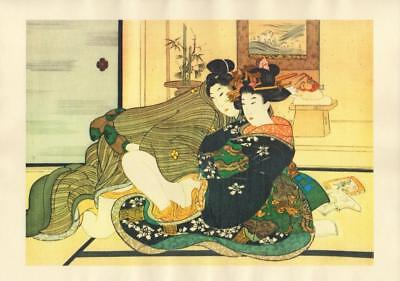 Japanese Reproduction Woodblock Print Shunga Style A2 Erotic A4 Parchment Paper