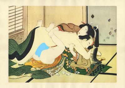 Japanese Reproduction Woodblock Print Shunga Style A9 Erotic A4 Parchment Paper