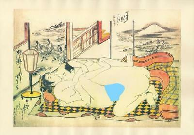 Japanese Reproduction Woodblock Print Shunga Style A17 Erotic A4 Parchment Paper