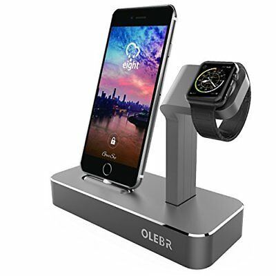 Apple iPhone / iWatch Charging Stand 2 in 1 Charging Dock Aluminum Station Gray