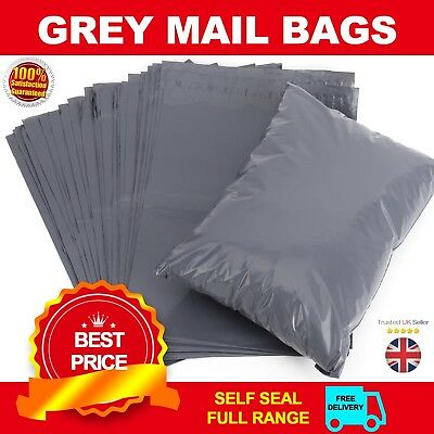 """25 BAGS -12"""" x 16"""" STRONG POLY MAILING POSTAGE POSTAL QUALITY SELF SEAL GREY M88"""