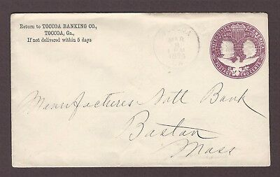 mjstampshobby 1894 US Famous Toccoa Banking Co Vintage Cover Used (Lot4839)
