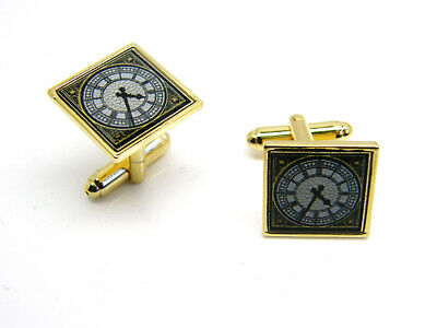 Big Ben Clock Face London Gift Badge Cufflinks Mens Gold Tone Novelty In Pouch