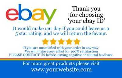 1000 Glossy E-bay Business  Feedback Card Custom