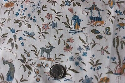 "Antique French Tiny Scale Printed Chinoiserie Toile Cotton Fabric c1900~6""LX8""W"