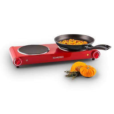 New Double Electric Hot Plate Stove Cooker Kitchen Powerful Pro 2400W Red