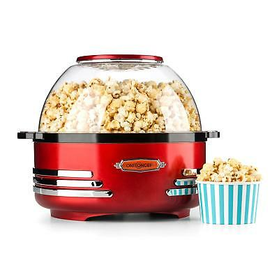 Electric Red Retro Popcorn Maker Bowl Lid Machine Kitchen Non Stick 5.2 L Shop
