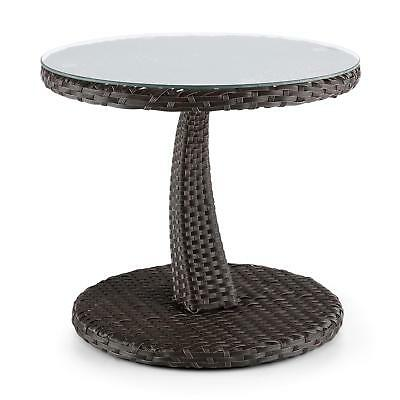 Garden Home Table Furniture Wicker Glass Top Outdoor Coffee Tea Brown Aluminium