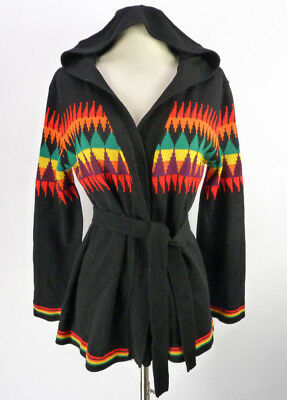 Vintage 70s Rainbow HOODED Space Dye Southwestern Belted Wrap Cardigan Sweater L