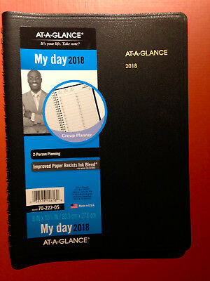 """At-A-Glance 70-222-05 2018 2-Person Daily Appointment Book 8"""" x 10 7/8"""" NEW"""