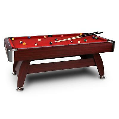7 Feet Billiard Pool Table Snooker Game Toy Fun Kids Friends Pub Bar Home Red
