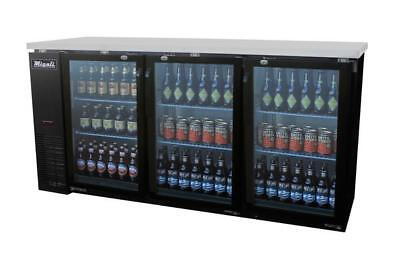 "NEW! Migali 72"" Back Bar Refrigerator / Glass Doors / C-BB72-G / FREE SHIPPING"