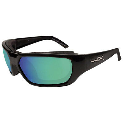 Wiley X Rout Glasses Antiscratch Polarized Emerald Mirror Lens Gloss Black Frame
