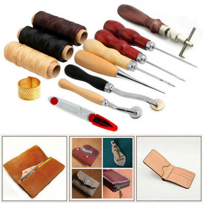 14X Leather Craft Hand Stitching Sewing Tools Set Thread Awl Waxed Thimble Kit