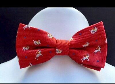 NWT Boys Red Adjustable CHRISTMAS Bow Tie With REINDEER