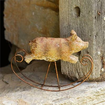 VIntage-Style Rustic Primitive Small Rocking Pig Shelf Sitter