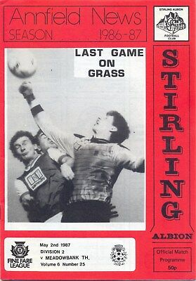 STIRLING ALBION v MEADOWBANK THISTLE 2 MAY 1987 LAST GAME LIVINGSTON ANNFIELD