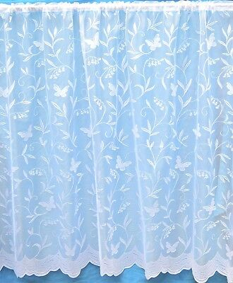 Butterfly An All Over Straight White Net Curtain With Scalloped Base Per Metre
