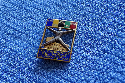 1954 World Gymnastics Championship Roma Gimnastica badge pin