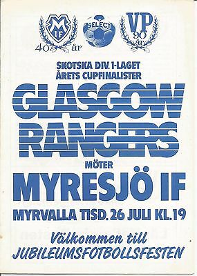 Myresjo IF v Rangers 1983/84 season Friendly