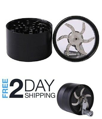 Black Tobacco Herb Grinder Spice Herbal Zinc Alloy Smoke Crusher, 4 Piece 3 Inch