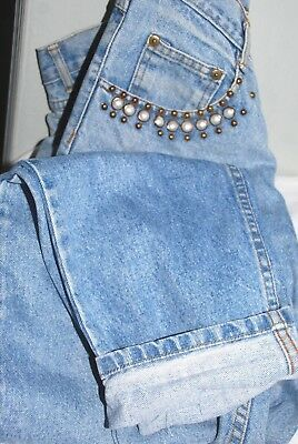 Jeans High waisted rockabilly style or funky 80's with Pearl trims on pockets