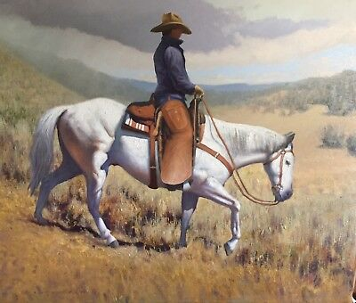 Wyoming Western horse 28 x 33  Original Oil Painting by Edward Suthoff