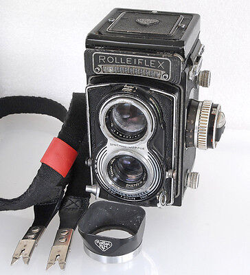 A Film Tested Rolleiflex T TLR SN T2170472, Strap, Hood READ DESC RE LENS COND.