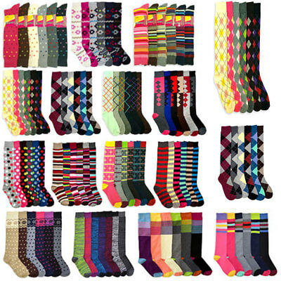 6~12 pairs Women Girls Knee High Multi Color Fancy Design Winter Socks 9-11 Lots