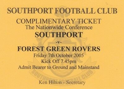 Ticket - Southport v Forest Green Rovers 07.10.05