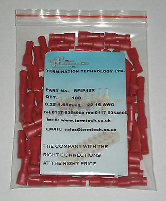 100 Red, Pre-Insulated Terminal Crimps, 0.25 - 1.65mm. (RFIP48X)