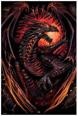 Spiral Dragon Furnace, Poster 62X92Cm|Dragon|Wings|Flames