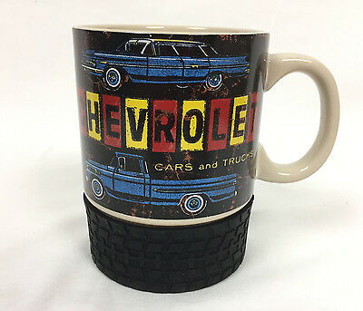 Vintage CHEVROLET CARS AND TRUCKS Porcelain Mug Cup w/ Tire Coaster Chevy GMC