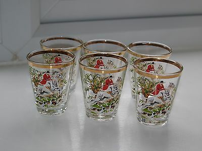 Set of 6 vintage 1970s shot glasses with horse & hounds hunting scene