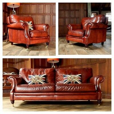 Victorian Style Chestnut Antique Tan Brown Leather Suite 3 Seat Sofa Pair Chairs