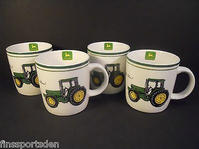 Set of 4 JOHN DEERE Tractor Advertising Coffee Mugs ~ Gibson Nothing Runs Like A
