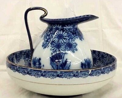 Royal Doulton RARE Daisy pattern Pitcher & Basin Colbalt Flow Blue early 1900s