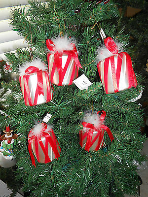 Lot of 5 Red and White Glass Gift Box Present Christmas Ornaments Feathers New