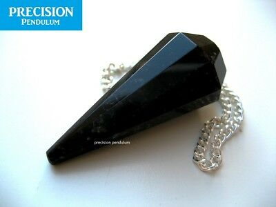 Solid Black Obsidian 12-Faceted Precision Pendulum Healing Crystal Gemstone