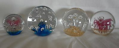 Lot 4 x Solid Glass Paperweights - Various Makers - VGC Art Glass