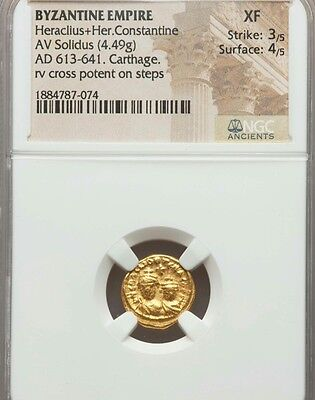 Byzantine Empire Heraclius and Constantine NGC XF 3/4 ancient gold coin Solidus
