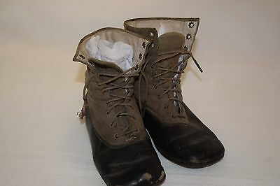 Vintage Youth's High Top Shoes,Black Leather w/Grey Suede Upper,Laces