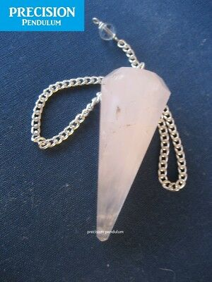 Solid Rose Quartz 12-Faceted Precision Pendulum Healing Crystal Gemstone