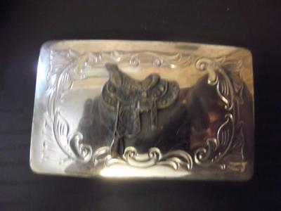 Vintage Square Silver Tone Belt Buckle with Brass Saddle Western Cowboy Cowgirl