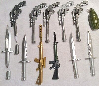 Lot Of 12 Pens Weapon Machine Gun Ak47 M16 Rifle Revolver Military Knife Grenade