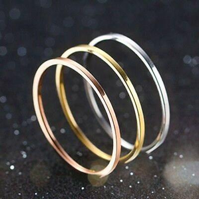 1mm Titanium Steel Band Men Womens Silver/Gold/Rose Gold/Black Tail Ring Sz 4-11