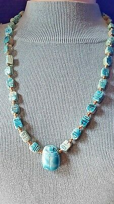 Vtg Egyptian Craved Scarab Beetle Faience Glaze Turquoise Stone Beads Necklace
