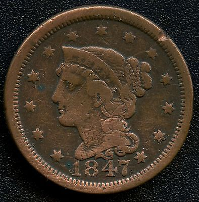 """1847 United States """"Braided Hair"""" 1 Cent Coin"""