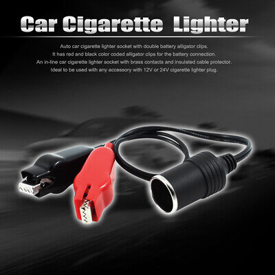 DC12V 24V Auto Car Cigarette Lighter Socket Adapter Battery Alligator Clamp Clip